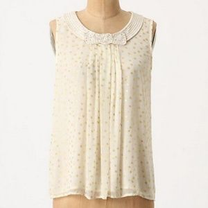 Anthropologie silk beaded bow collar polka dot top